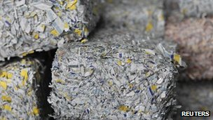 Bricks of shredded Euro notes which have been decommissioned