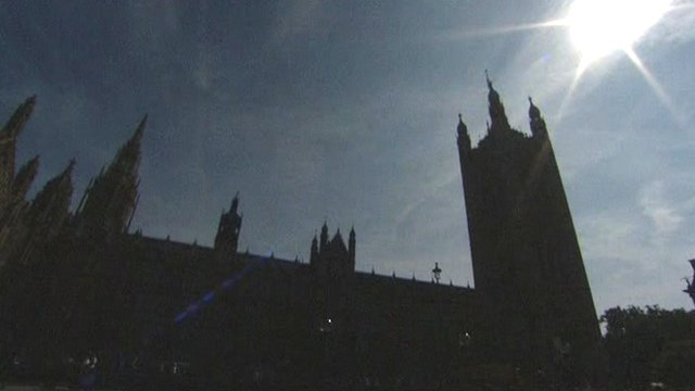 Houses of Parliament in silhouette