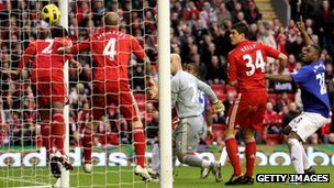 Liverpool v Everton on 16 Jan 2011