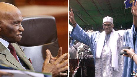 L: Abdoulaye Wade in 2009; R: Mr Wade in 2001