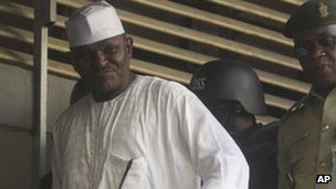 "Maj. Hamza Al-Mustapha leaves the court after a verdict in Lagos, Nigeria, on Monday, 30 Jan 2012. A judge in Nigeria has sentenced a former dictator""s right-hand man to death over the killing of a politician""s wife."