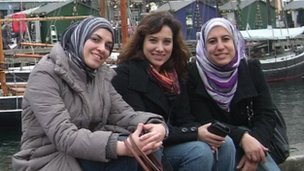 The co-founders of the SuperMama website - Yasmine El-Mehairy, Shereen El Sammaa, and Zeinab Samir