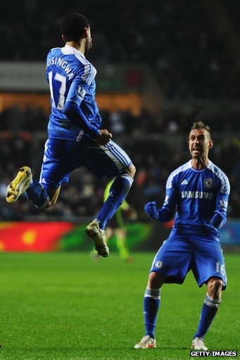 Bosingwa (left) celebrates after scoring for Chelsea