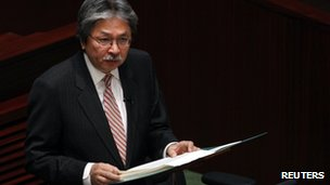 Hong Kong Financial Secretary John Tsang delivers his budget speech