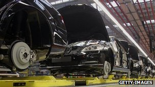 Mercedes-Benz cars on a production line 