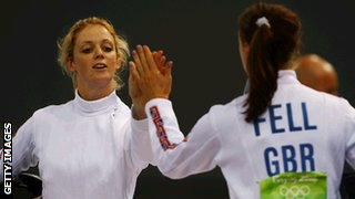 Katy Livingston with Heather Fell at Beijing 2008