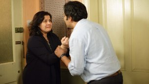 Nina Wadia who plays Zainab Masood, and Nitin Ganatra, who plays Masood Ahmed in Eastenders