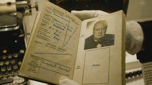 Passport used by Churchill