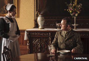 Clare Calbraith as Jane and Hugh Bonneville as Lord Grantham