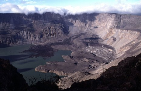 "A volcanic ""caldera"" on the Galapagos Islands"
