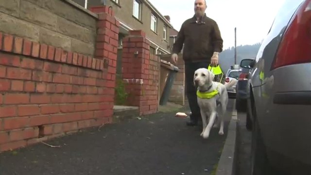 Tony Harris with his guide dog