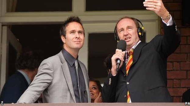 Former England captain Michael Vaughan and BBC cricket correspondent Jonathan Agnew at Lord's