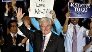 Newt Gingrich at his primary party in Orlando, Florida 31 January 2012