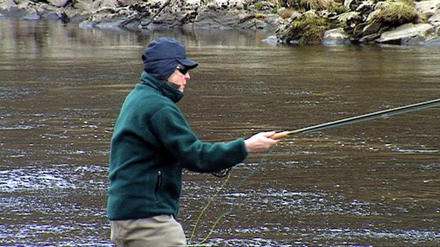 Paul Whitehouse fishing in the River Dee