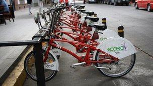 Line of Ecobici bikes