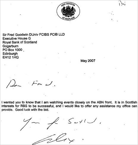 Alex Salmond letter to Goodwin