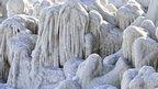 Ice covers cliffs as the waters Black Sea are frozen near the shore in Constanta, Romania.