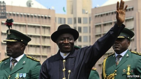 President Goodluck Jonathan during a military parade, October 2010