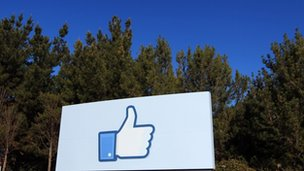 Facebook&#039;s thumbs-up sign outside its offices