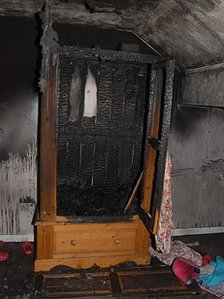 The burnt wardrobe in the Freckleton house