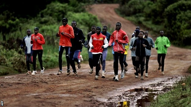 Distance runners training in Iten, Kenya