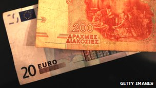 A twenty euro note with a two-hundred drachma note