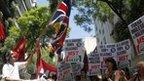 Argentine demonstrators burn British flag in Buenos Aires