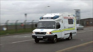 Ambulance driving on road