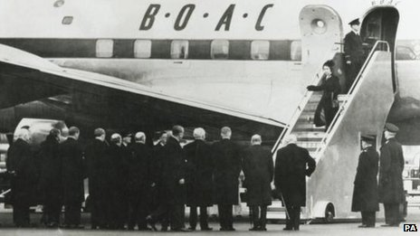 Queen Elizabeth II returns to the UK following the death of her father, King George VI