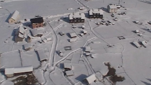 Aerial of snow covered village in Serbia