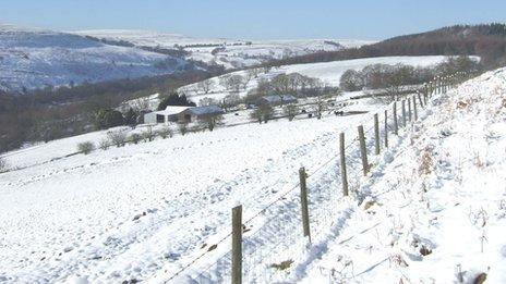 Snow-covered hills above Deri in the Darran Valley, near Bargoed. Picture: David Nicholas