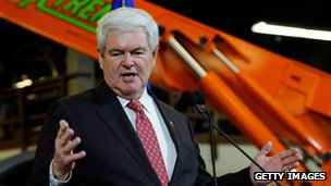 Newt Gingrich at a campaign event in Las Vegas, Nevada 2 February 2012