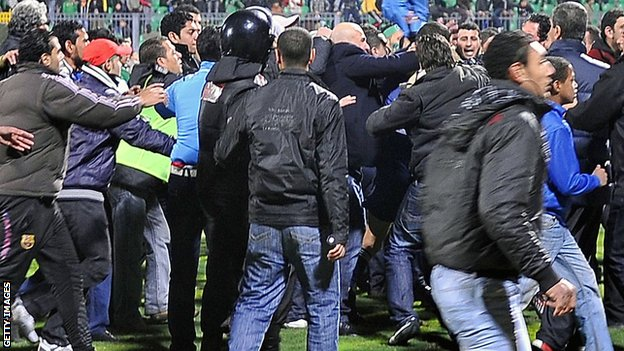 Fans following the clash between Al-Ahly and Al Masry
