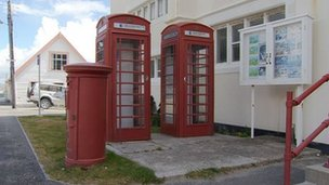 Red phone boxes on the Falkland Islands