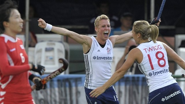 Alex Danson celebrates with Georgie Twigg