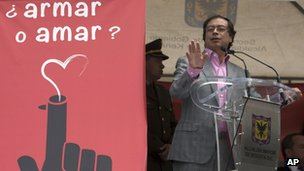 Gustavo Petro speaks in Bogota on 1 February 2012