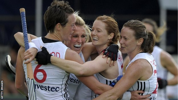 Alex Danson (second left) celebrates Britain's second goal against Korea