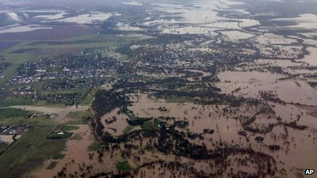 Photo released by New South Wales Premier's Office of aerial view of the town of Moree, northern New South Wales, Australia, covered in floodwater on 3 February, 2012