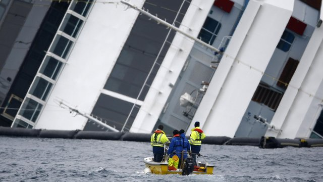 Men in small boat sail past massive wreck of Costa Concordia