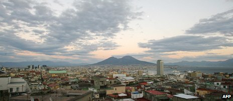 Naples and Mount Vesuvius in the distance
