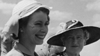 Princess Elizabeth attends a polo match in Nyepi, Kenya, with attending dignitaries