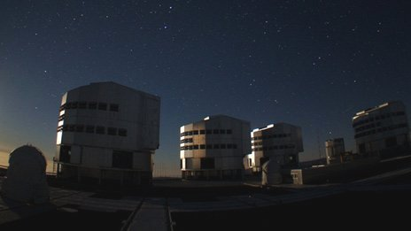 Night scene Paranal observatory, Chile