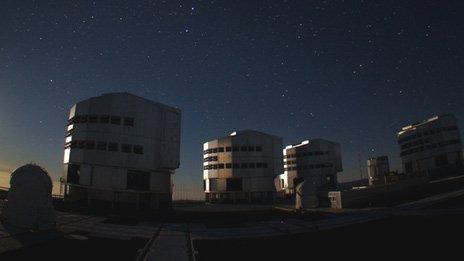 Night scene Paranal observatory, Chile