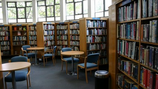 General view showing the interior of a public library