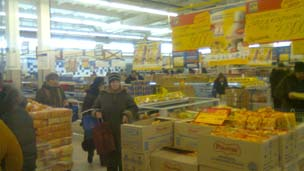 Pinsk supermarket on Friday 3 February. Photo: Natam Levinson