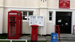 Red phone box and post box in Stanley