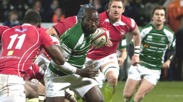 Ayoola Erinle charges for the line for Nottingham