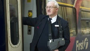 "First Scotrail conductor Alan Mitchell said he was ""delighted to be back"""