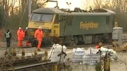 Derailed train near Bletchley