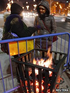 Street brazier in Warsaw, 1 Feb 12